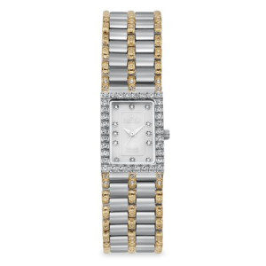 Croton Ladies Rectangular Two Tone Quartz Watch with Mother of Pearl Dial & Diamond Markers