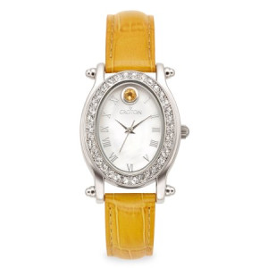 Croton November Birthstone Watch with Mother of Pearl Dial