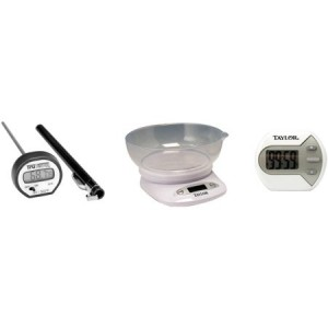 Taylor 4.4 lb Digital Kitchen Scale and Bowl; Instant Read Thermometer and Timer