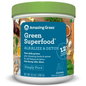 Amazing Grass Alkalize & Detox Green Superfood Powder, Simply Pure, 8.5 Oz