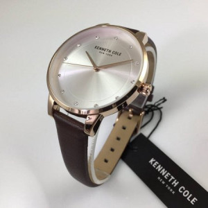 Women's Kenneth Cole Rose Gold Brown Leather Crystallized Watch KC50044002