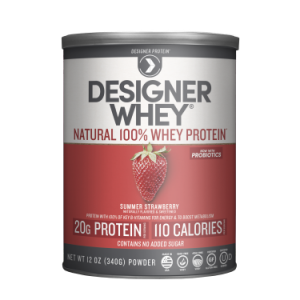 Designer Whey Protein Powder, Summer Strawberry, 20g Protein, 12 Oz