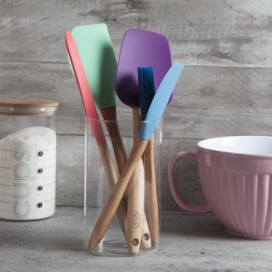 Thyme & Table 5 Piece Silicone and Beechwood Cooking Tool Set