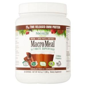 MacroLife Naturals MacroMeal Protein & Superfood Powder, Chocolate, 2.8 Lb