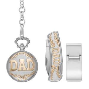 "Men's ""Dad"" Pocket Watch Gift Set with Money Clip and Multi-Tool"