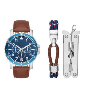 Men's Silver Watch Gift Set with Multi-Tool