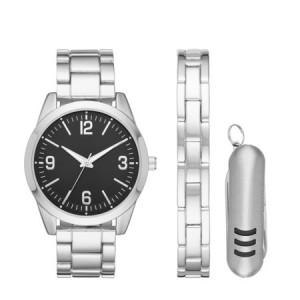 Men's Silver Watch with Multi-Tool Set