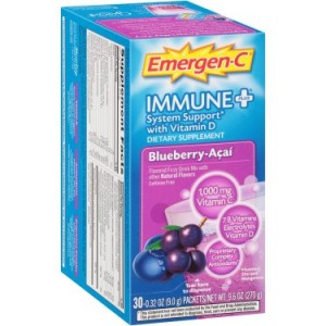Emergen-C Immune+ W/ Vitamin D Blueberry-Acai 30ct Dietary Supplement Drink Mix With Vitamin D, 1000mg Vitamin C, 0.31 Ounce Packets