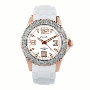 Primal Steel Ladies Chisel 40mm Rose IP-plated White Silicone Strap Watch