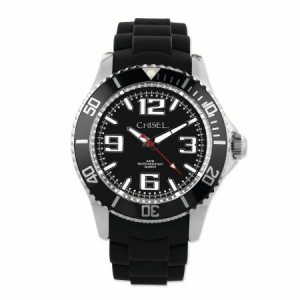 Primal Steel Mens Chisel 44mm Black Silicone Strap Watch
