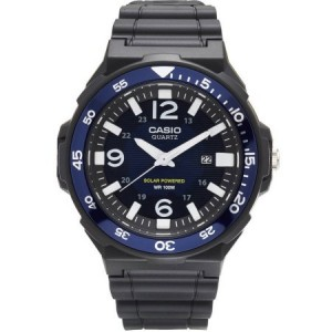 Casio Men's Solar-Powered Analog Watch, Black/Blue