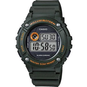 Casio W216H-3BV Men's Sport Digital Watch, Green Resin Strap