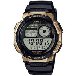 Casio Men's World Time Watch, Black Resin Strap, AE1000W-1A3V