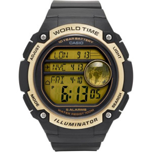 Casio Men's World Time Watch, Black/Gold