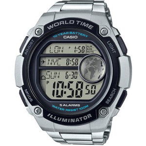 Casio Men's World Time Watch, Silver Tone Bracelet