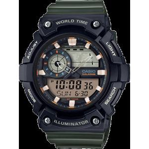 Casio Men's Analog-Digital World Time Watch, Green Resin Strap - AEQ200W-3AV
