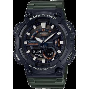 Casio Men's World Time Telememo 30 Watch, Green Resin Strap - AEQ110W-3AV