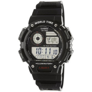 Casio Men's Classic Digital World Time Watch, Black - AE1400WH-1AV