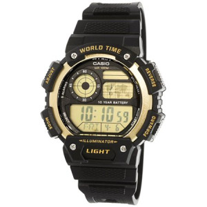 Casio Men's Classic Digital World Time Watch, Black/Gold - AE1400WH-9AV