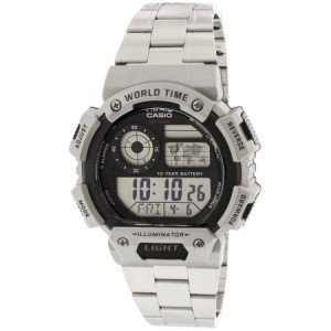 Casio Men's Classic Digital World Time Bracelet Watch, Silver - AE1400WHD-1AV