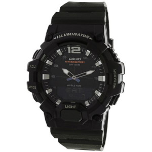 Casio Men's Analog-Digital World Time Watch, Black/Green - HDC700-3AV