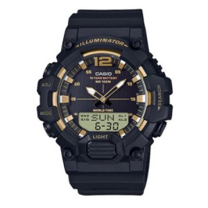 Casio Men's Analog-Digital World Time Watch, Black/Gold - HDC700-9AV