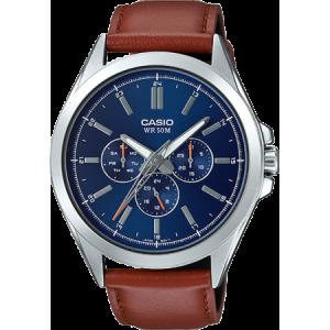 Casio Men's MTPSW300L-2AV Classic Multi-Hand Watch, Brown Leather Strap