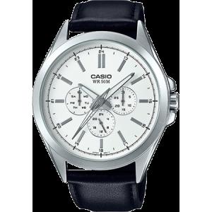 Casio Men's Classic Multi-Hand Watch, Leather Strap - MTPSW300L-7AV
