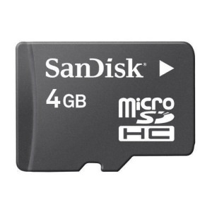 Sandisk 4GB MicroSDHC Memory Card with SD Adapter (BULK Packaging)