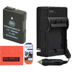 BM Premium ENEL14, EN-EL14, EN-EL14A Battery and Charger Kit for Nikon Coolpix P7000, P7100, P7700, P7800, D3100, D3200, D3300, D5100, D5200, D5300,