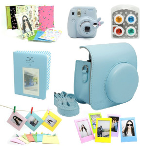 Fujifilm Instax Mini 8 Instant Camera Accessory Bundles Set (Included: Blue Mini 8 Vintage Case Bag/ Blue Hard Cover Style Instax Mini Book Album/ Bl