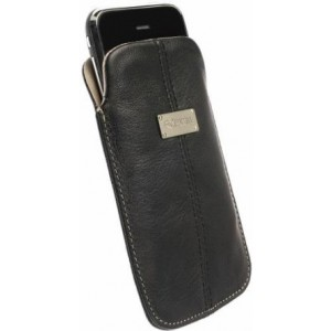 Krusell Luna Large Premium Leather Pocket Pouch for iPhone 4 / 4S and other Smartphones with 3.5 / 4.0 inch Screen - Black/Sand