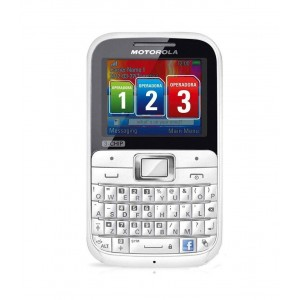 Motorola MOTOKEY EX117 3-Chip White/Pink Unlocked GSM Phone with QWERTY Keypad,