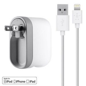 Belkin USB Swivel Wall Charger with Lightning Cable for iPhone 6 / 6 Plus, 5 / 5S, iPad 4th Gen, iPad mini, iPod touch 5th Gen, and iPod nano 7th Gen