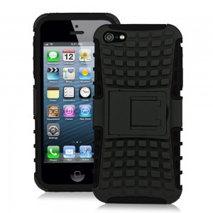 JKase DIABLO Series Tough Rugged Dual Layer Protection Case Cover with Build in Stand for Apple iPhone 5 - Retail Packaging (Black)