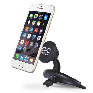 The Original Patented InfiniApps Slyde CD Slot Mount for Smartphones, Cradle-less Universal cell phone holder with Quick-snap technology, magnetic ce