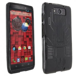 Droid Maxx Case, Cruzerlite Bugdroid Circuit TPU Case Compatible for Motorola Droid Maxx (Late 2013) - Black