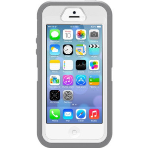 iPhone 5S Case- OtterBox Defender Case for iPhone 5/5S- White/Gray (Frustration-Free Packaging)(Works with TouchID)