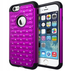 iPhone 6 Case, Cimo [Shockproof] Apple iPhone 6 Case Heavy Duty Shock Absorbing Hybrid Stud Rhinestone Bling Dual Layer Protection Cover for Apple iP