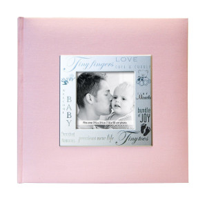 MCS MBI 846611 9 by 9-Inch Fabric Expressions with Frame Front 200 Pocket Album in Baby Pink