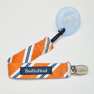 Booginhead Pacifier Holder, Orange Grey Stripe