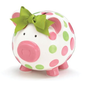 Girls Pink and Green Circles Pig Piggy Bank Green Bow Ceramic Personalized Baby Nursery Decor