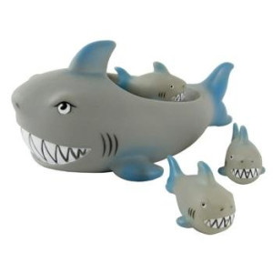 Rubber Shark Family Bathtub Pals - Floating Bath Tub Toy