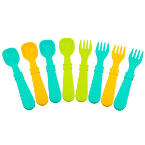 Re-Play 8 Count Utensils, Aqua, Green, Sunny Yellow