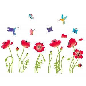 Radiant Poppies Decorative Peel and Stick Wall Art Sticker Decals