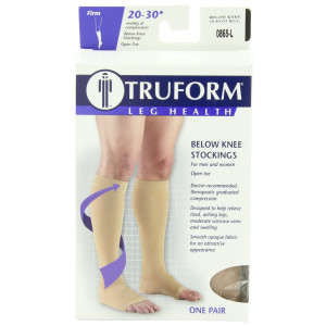Truform 0865, Compression Stockings, Below Knee, Open Toe, 20-30 mmHg, Beige, Large