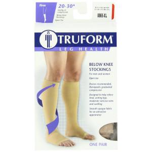 Truform 0865, Compression Stockings, Below Knee, Open Toe, 20-30 mmHg, Beige, X-Large