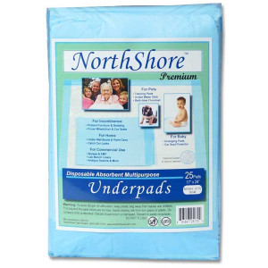 NorthShore Premium Blue Disposable Underpads (Chux), Small Size 17 x 24, Pk/25