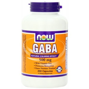NOW Foods Gaba 500mg with B-6, 200 Capsules