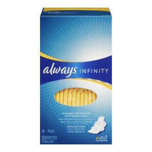 Always Infinity Unscented Pads with Wings, Regular Flow, 36 Count (Pack of 2)